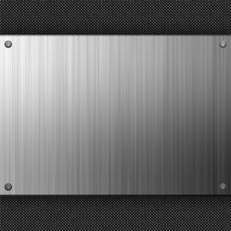 gunmetal: Carbon fiber background with a section of embossed stainless steel.  Plenty of copyspace in this layout. Stock Photo
