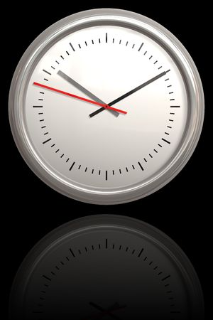 bezel: A chrome bezel 3D clock illustration with reflection and copyspace isolated over black.