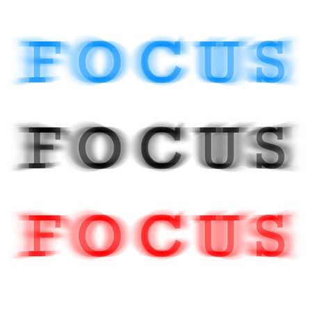 sharpness: The word focus in three different color variations with a blur effect.