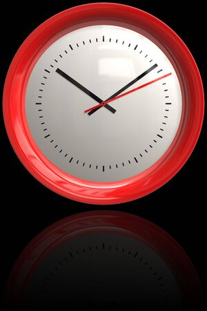 bezel: A red bezel 3D clock illustration with reflection and copyspace isolated over black. Stock Photo