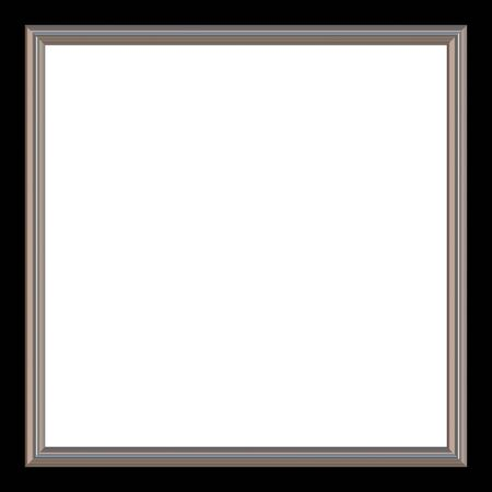 Silver and black square photo frame and white copyspace.