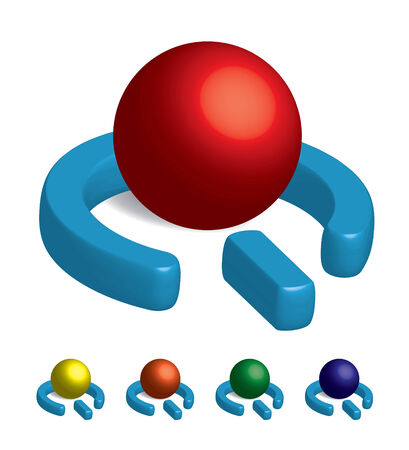 A 3D power symbol orb in a variety of colors.  Vector