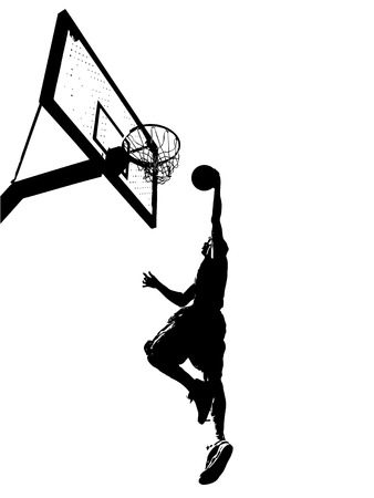 scoring: High contrast silhouette illustration of an athlete slam dunking a basketball. Illustration