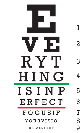 eye exam: An eye chart with a hidden message that reads EVERYTHING IS IN PERFEECT FOCUS IF YOUR VISION IS ALRIGHT.