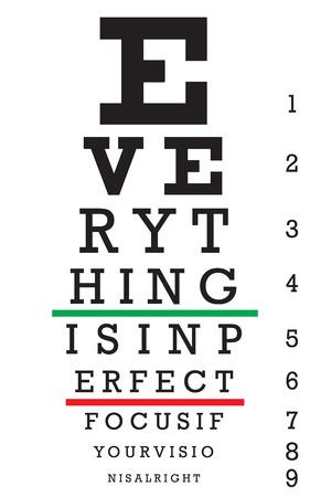Een grafiek van het oog met een verborgen bericht dat alles IS IN PERFEECT FOCUS als uw visie IS goed leest.
