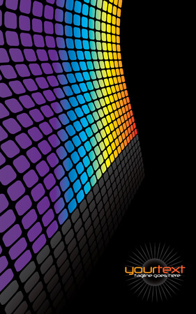 A rainbow colored wall illustration with reflections and copyspace.