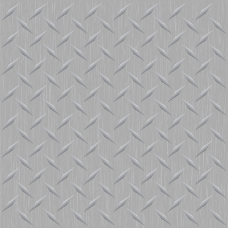 A silver metallic diamond plate image that tiles seamlessly in any direction as a pattern. Vector