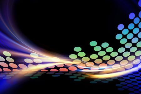 A glowing graphic audio waveform illustration with rainbow fractal art accents.