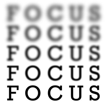blur: The word focus in 5 different  variations of blurriness and sharpness isolated over white.