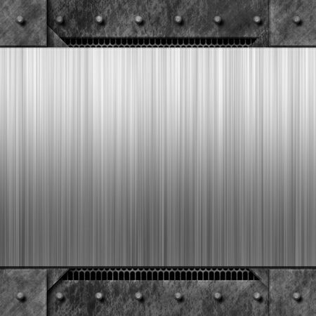 tread plate: Brushed metal background texture with rivets.  Makes a great layout or business card template.