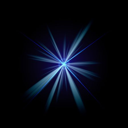 ray of light: Bright blue flash of light or lens flare burst over a black background. Stock Photo