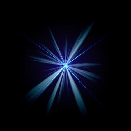 Bright blue flash of light or lens flare burst over a black background. Foto de archivo