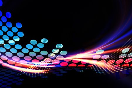 A glowing graphic digital audio equalizer illustration with rainbow fractal art accents.