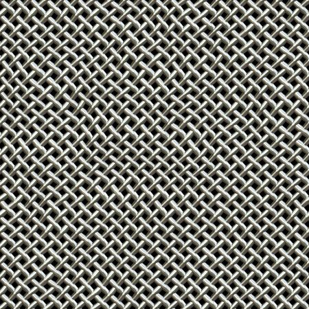 chrome: A silver metal wire mesh texture found on microphones.  This tiles seamlessly as a pattern in all directions. Stock Photo
