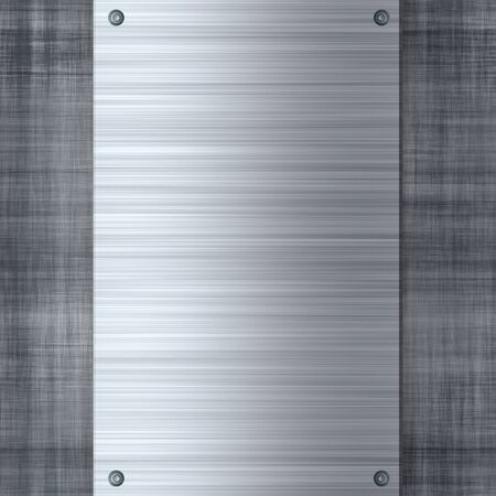 metal sheet: Brushed or machined metal template with rivets and plenty of copyspace.  Makes a great layout or business card background.