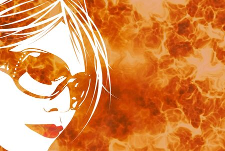 Illustration of a womans face with sunglasses over a fiery flaming background. illustration