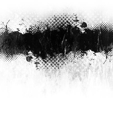 Grunge paint or ink splatter layout isolated over white with copyspace.