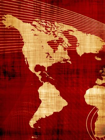 A red grungy looking world map of North and South America. Stock Photo - 6741232