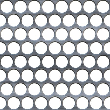 grille: A brushed metal grille or grate with circular holes isolated over white.