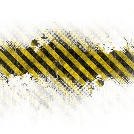 hazard sign: A hazard stripes background with grungy splatter isolated over white.