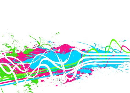 An abstract background with wavy lines and paint splatter.