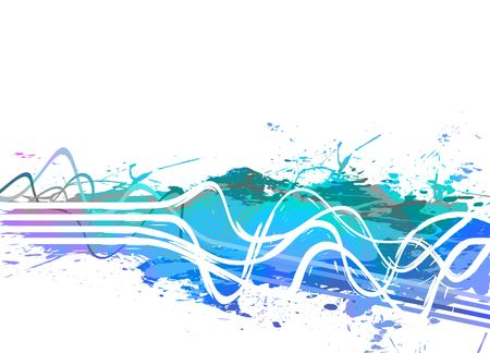 Blue abstract background with wavy lines and paint splatter. photo