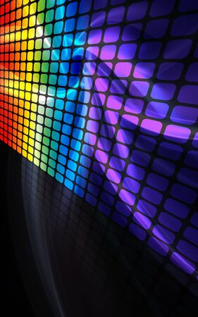 A rainbow colored digital wall or display screen with reflections and plenty of copyspace.