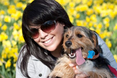 beagle mix: A cute terrier mix breed pup in the arms of a beautiful Spanish woman posing in front of the yellow daffodil flowers in the Spring time. Shallow depth of field.