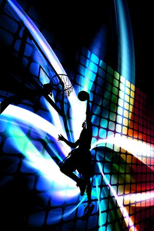 Abstract illustration of a silhouette of a man slam dunking a basketball over a background of rainbow colored artwork. illustration