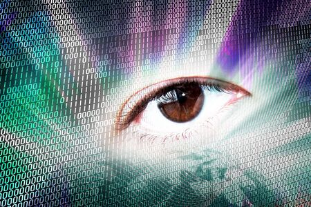 Abstract digital montage of an eye and binary code. Stock Photo - 6812175