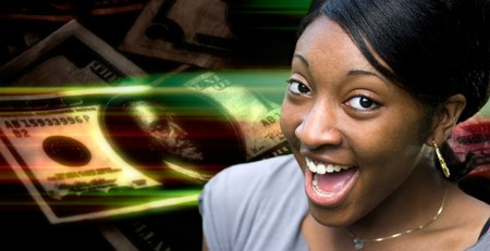 materialism: A happy or surprised young black woman in front of a money montage background.