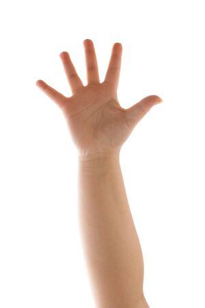 De palm van een menselijke hand en onderarm zwaaien met vijf vingers uitgebreid terwijl geïsoleerd op een witte achtergrond.  Stockfoto - 6894306