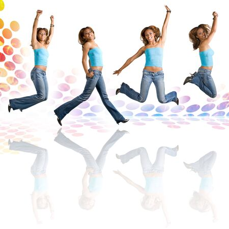 early twenties: A young Hispanic woman in her early twenties jumping in the air in four different poses over an audio waveform backdrop with reflections. Stock Photo