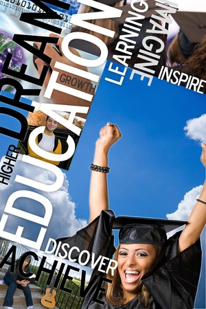 university word: An education montage or layout with photos and text of students and graduates.  Plenty of copyspace for your text or logo.