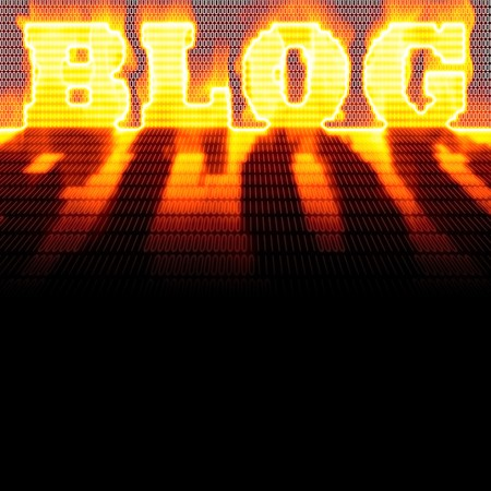 popularity popular: The word BLOG formed out of binary code and burning in flames while isolated over a black background. Stock Photo