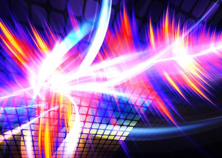 A rainbow colored digital wall or audio waveform with plenty of copyspace. Stock Photo - 6894344