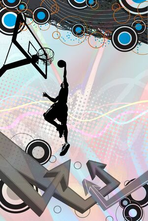 A funky urban layout with graffiti style arrows and a silhouette of a basketball player slam dunking.  photo