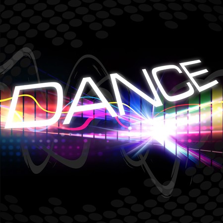 modern  dance: A rainbow colored graphic equalizer with the word DANCE and plenty of copyspace. Stock Photo