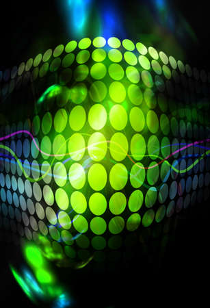 Abstract background with glowing green circles and colorful accents.