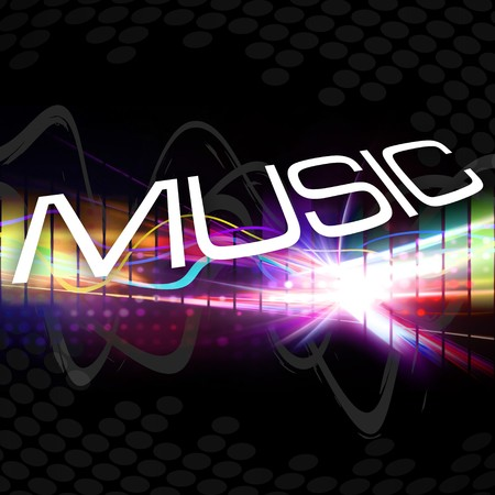 A rainbow colored graphic equalizer with the word MUSIC and plenty of copyspace.