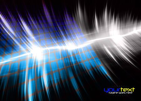 A blue and purple colored graphic equalizer wave form with sample text in the copy space. Stock Photo - 6980265