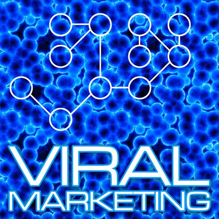 An illustration or diagram demonstrating viral marketing with 3D cells and a flow chart. This image tiles seamlessly as a pattern in any direction. illustration