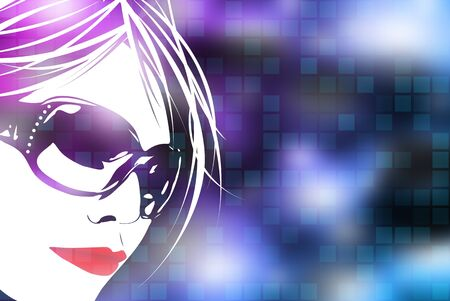 An illustration of a womans face over a blue digital background with square shapes.