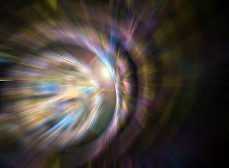A 3D abstract fractal layout with blur motion effects and a lens flare in the center. photo