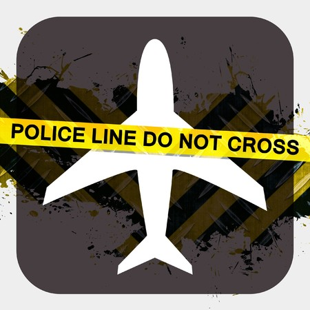 hazard: Airport security screening illustration terrorist or criminal activity with police tape reading POLICE LINE DO NOT CROSS.