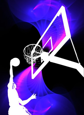 Een silhouet van een basket bal speler slam dunking de bal over een swirly paarse achtergrond.
