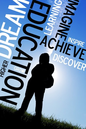 An educational montage or layout with a backlit silhouette of a female student with her backpack.  Plenty of copyspace for your text or logo. Standard-Bild