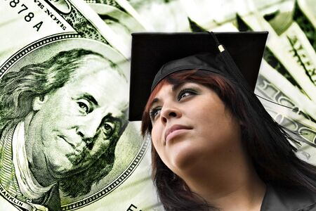 collegiate: A closeup of a female graduate in her cap and gown in front of a money background. Great conceptual image for scholarships college loans or projected career earnings.