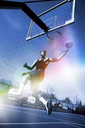 dunk: A basketball player drives to the hoop for a slam dunk with abstract rainbow lens flare and halftone effects.