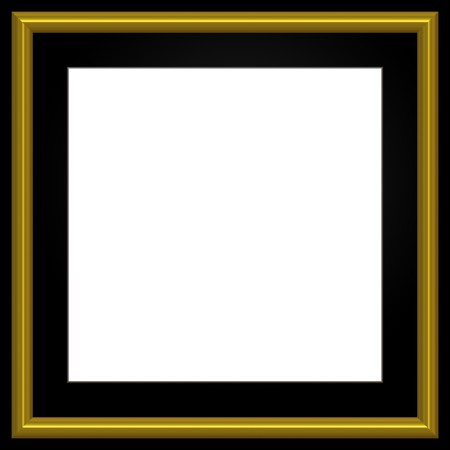 Gold and black square photo frame and white copyspace.